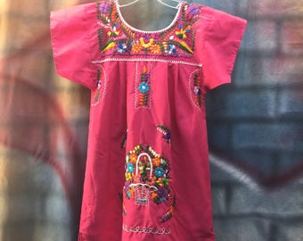 Youth Girls Pink Embroidered Mexican Dress