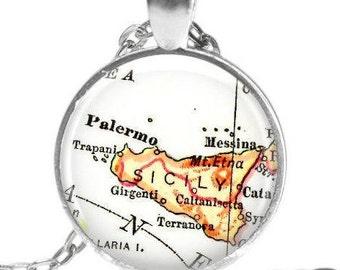 Sicily, Italy necklace pendant charm, Italian Jewelry, Italian necklace, Sicilian map jewelry, custom Sicily locations available, A188