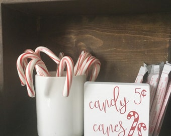 Candy Cane Wood Sign - Candy Cane Christmas - Hot Chocolate Bar -Hot Cocoa  Bar - Candy Cane Decor - Christmas Decor Sign