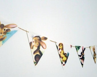 Vintage Bunny and Duckling Book Bunting Easter Decor