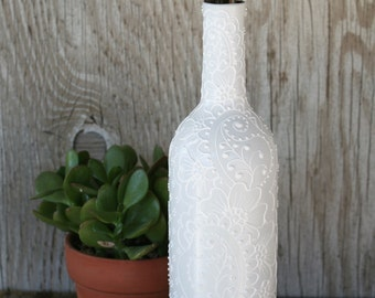 Minimalist Design Hand Painted Wine Bottle Vase, Modern White on White Design