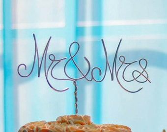 """Silver Wire """"Mr & Mrs"""" Wedding Cake Toppers - Decoration - Beach wedding - Bridal Shower - Bride and Groom - Rustic Country Chic Wedding"""