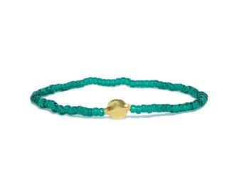 Beaded Bracelet in 18K Solid Yellow Gold - Beach Boho Stretch Cord- Tiny Green Glass Beads - Men Women Unisex Gift Him Her