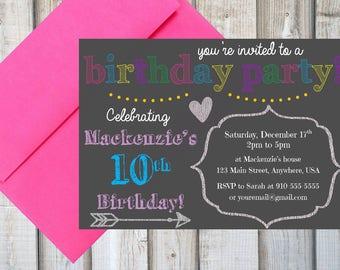 GIRLS BIRTHDAY PARTY Invitation, Printable, Customized, Chalkboard, Rainbow, Girls Birthday Party Invite, Digital Print