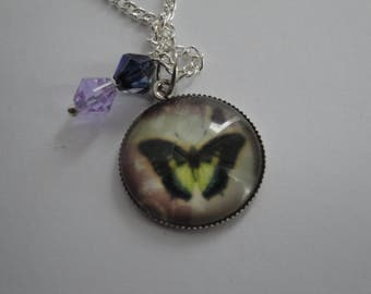 Butterfly Pendant, Charm, Crystal Bicone Bead Necklace