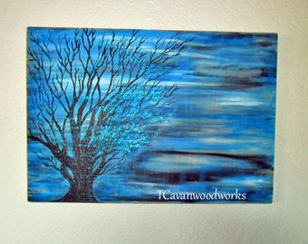 Blue tree landscape abstract art painting / wood burning