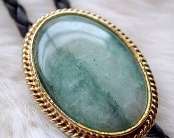 Vintage Aqua Agate Pendant Bolo Tie Necklace