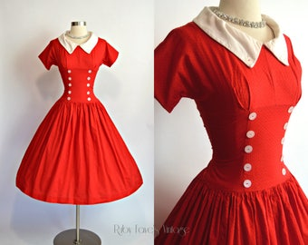 TEENA PAIGE Fashions 1950's Vintage Bright Red Dotted Swiss Cotton Drop Waist Collared Short Sleeve Dress