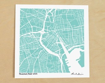 Providence Map, Hand-Drawn Map Print of Providence, Rhode Island