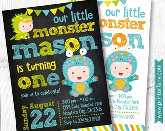 Little Monster Birthday Invitation, Little Monster 1st Birthday, DIGITAL Invitation, 2 options