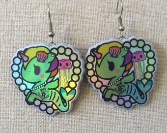 Cute Tokidoki Mermicorno Heart Earrings