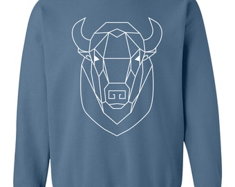 Unisex Bohemian Geometric Buffalo Totem Pullover - 3 colors - Boho Spirit Animal Cotton Sweater   Indigo   Maroon   Navy
