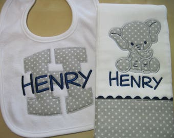 Personalized Elephant Burp Cloth with coordinating Bib