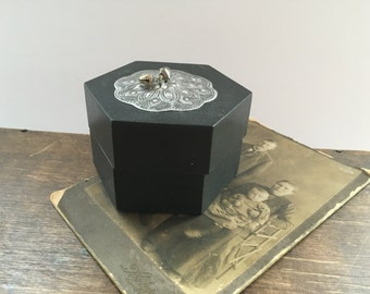 Black trinket box Small wooden trinket box Handmade wooden container Lidded wood box