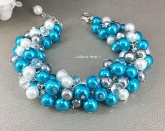 Turquoise Bracelet, Bridal Bracelet, Turquoise and Ivory Bracelet, Cluster Pearls, Bridesmaid Bracelet, Wedding Jewelry, Bridesmaids Gifts