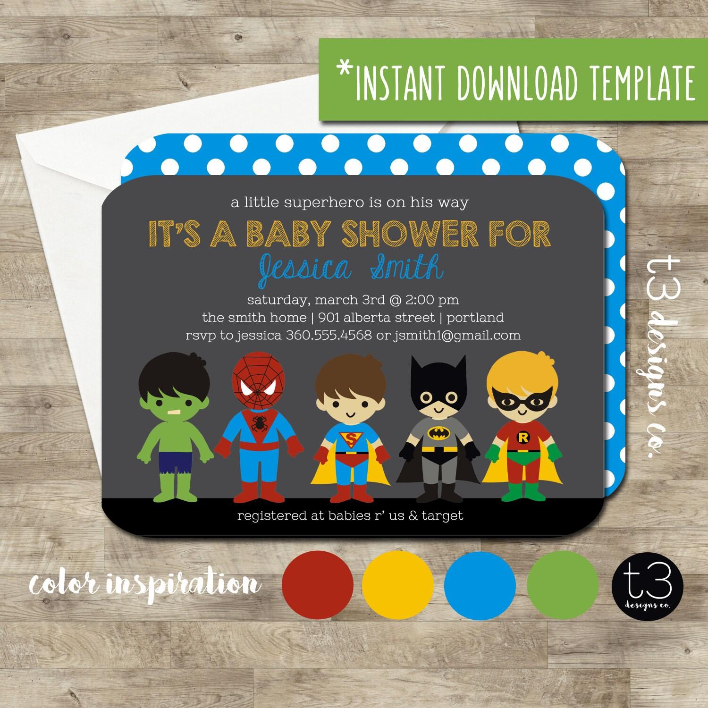Instant Download SUPERHERO Baby Shower Invitation diy pdf super