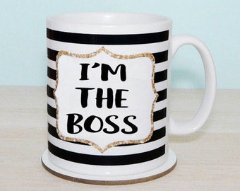 I'M THE BOSS Monochrome Striped Mug, Black & White, Faux Gold Glitter Border, Inspirational Quote, Coffee Cup