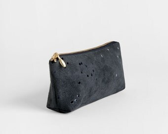 Black vegan suede makeup bag - Metallic pencil case - Black makeup case - Small cosmetics pouch - Vegan traveling case - Bridesmaids gift
