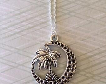Palm Tree - Palm Tree Necklace - Palm Tree Jewelry - Tree Necklace - Tree Jewelry - Tree Pendant - Moon Necklace - Moon Jewelry - Necklace