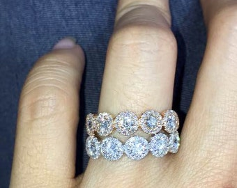 Diamond Halo Bands, White and Rose Gold