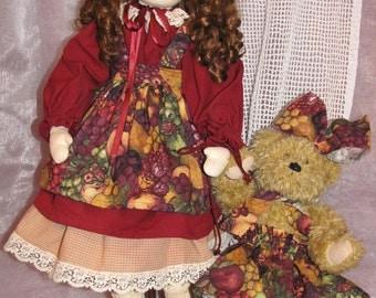 GIOVANNA ooak handmade cloth fabric doll, bambola, synthetic wig,  cotton dress, handmade bear,  country style by fiorenza biancheri