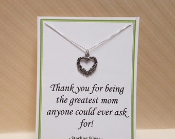 Mom Quote Thank You Gift Sterling Silver Necklace