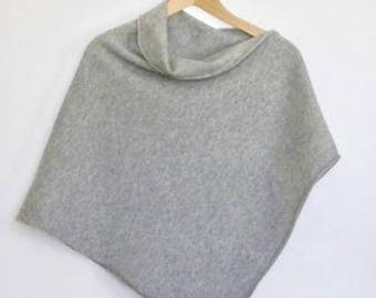 Poncho Soft Merino Lambswool Perl Grey