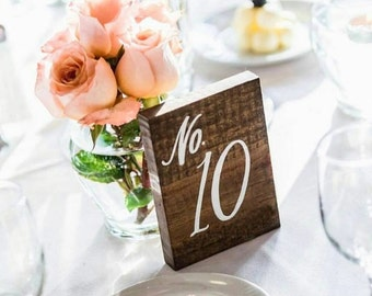 "Wedding Table Numbers, Rustic Wooden Wedding Signs, ""No. Style"", Rustic Wedding Decor"