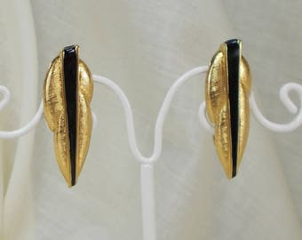 Vintage Monet Black Enamel and Textured Gold Finisih Abstract Leaf Clip Earrings  3438