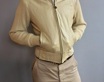 Campus Cream Leather and Knit Jacket with zipper front.
