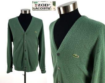 Vintage 70s Izod LACOSTE Acrylic Cardigan Sweater LARGE // Alligator // 1970s // Moss Green // Retro // Throwback // Gift // Crocodile // L