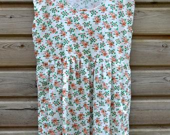 Summer sun dress, smock dress, peplum dress, day dress, vintage fabric, white, floral ditsy print