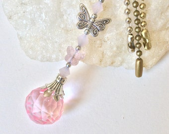 Pink light pulls, pink Crystal and butterfly ceiling fan pull, lamp pull, beaded ball chain pull, lighting Decor, baby girl room decor.