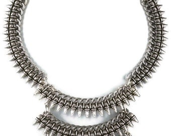 Lovers Spear Silver Metal Layered Tribal Statement Necklace