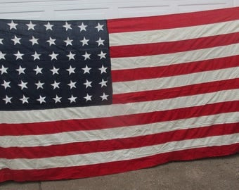 Old Glory American Cotton 48 Star Flag 5 Feet Tall 10 Feet Long with Cast Steel Flag Hangers