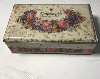 Schrafft's Trinket Chest 1930s Floral Lithograph Print Tin Box