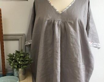 Plus Size Ladies Light Grey Linen Tunic Top