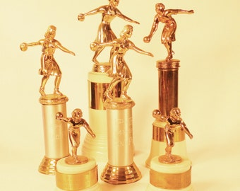 Vintage 40s-50s Women's Bowling Trophy Grouping