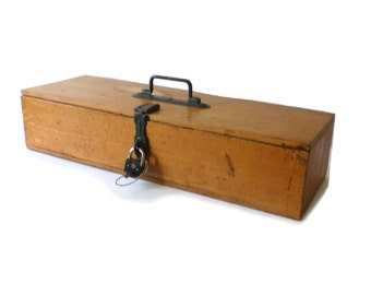 Wooden Box Vintage Toolbox Peugeot Frères with Lock Wooden Box Storage Box Industrial Decor 1930s