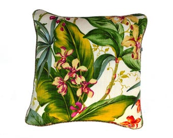 Palm leaves  and Orchids for this classic Indoor / Outdoor cushion cover ,Paradise Palms is gorgeous and popular. Double sided,zip at base.