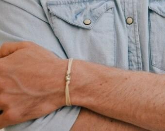 Mens bracelet, bracelet for him, silver skull charm, beige cord, Skull bracelet for men, gift for him, skeleton, minimalist jewelry, gift
