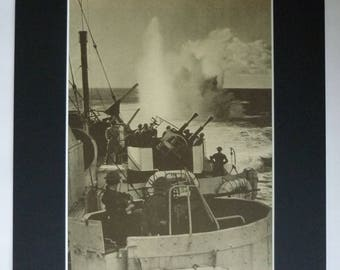1940s Antique Print of the Royal Canadian Navy, Battle of the Atlantic, Available Framed, Nautical Art HMCS Prince Robert Charlton Sovereign
