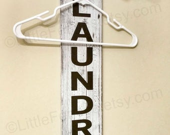 Laundry Room Sign, Industrial Pipe Clothing Rack, Laundry Room Hanging Rack, Wall Decor, Hooks, Organization, Storage, Wall Art, Rustic Wood