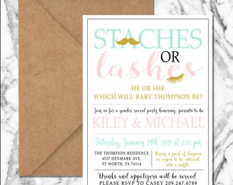Staches or lashes gender reveal invitation (digital file)