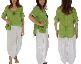 HI700GN36 ladies blouse layered look linen vintage Kiwi Gr. 36