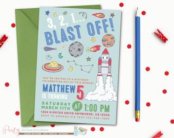 Space Invitation, Space Birthday Invitation, Outer space Birthday Invitation, Outer space Invitation, Astronaut Birthday Invitation