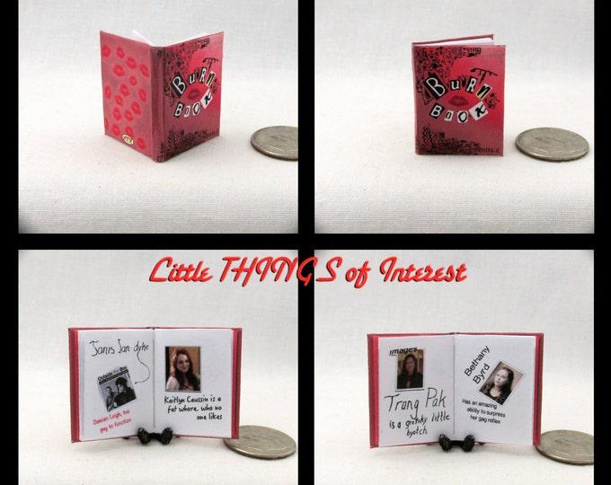 Miniature Book -- THE BURN BOOK Readable Illustrated Miniature Book Dollhouse 1:12 Scale Book The Plastics Mean Girls