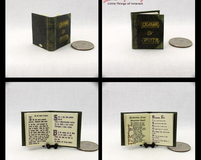 BOOK Of CHARMS And SPELLS Miniature Book Dollhouse 1:12 Illustrated Readable Book Wizard Witch Fortune Teller Gypsy Potter
