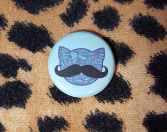Mustache Kitty Cat Head Pinback Button or Magnet
