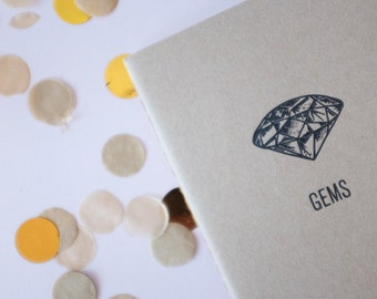 Gems Pocket Notebook Letterpressed Moleskine for Good Ideas with Gridded, Ruled, or Blank Pages Printed on Antique Presses in Cleveland Ohio